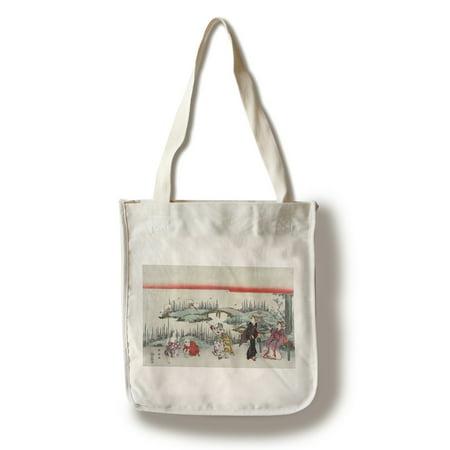 Catching Fireflies Japanese Wood-Cut Print (100% Cotton Tote Bag - Reusable)](Fireflies Boutique)