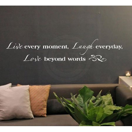 Live Every Moment, Laugh Everyday, Love Beyond Words vinyl lettering wall decal sticker (White, 8x40) ()