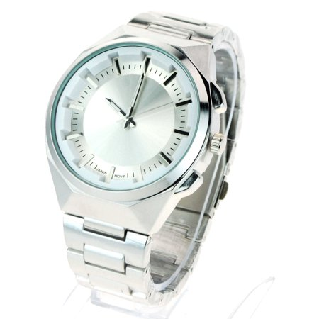 Sa106 Mens Luxury Index Dial Metal Link Band Dress Wrist Watch Silver