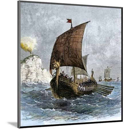 Danish Viking Ship, Raven, at Sea Wood Mounted Print Wall Art - Ship To Denmark
