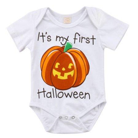 Newborn Baby Boy Girl Pumpkin Romper It's My First Halloween Bodysuit White Cotton Clothes Outfit Costume
