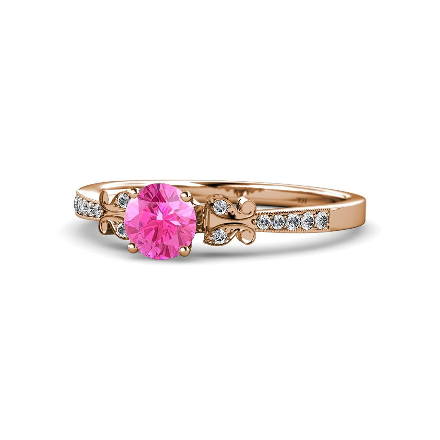 Pink Sapphire and Diamond Engagement Ring with Milgrain Work 1.12 cttw in 14K Rose Gold.size 7.5 by TriJewels