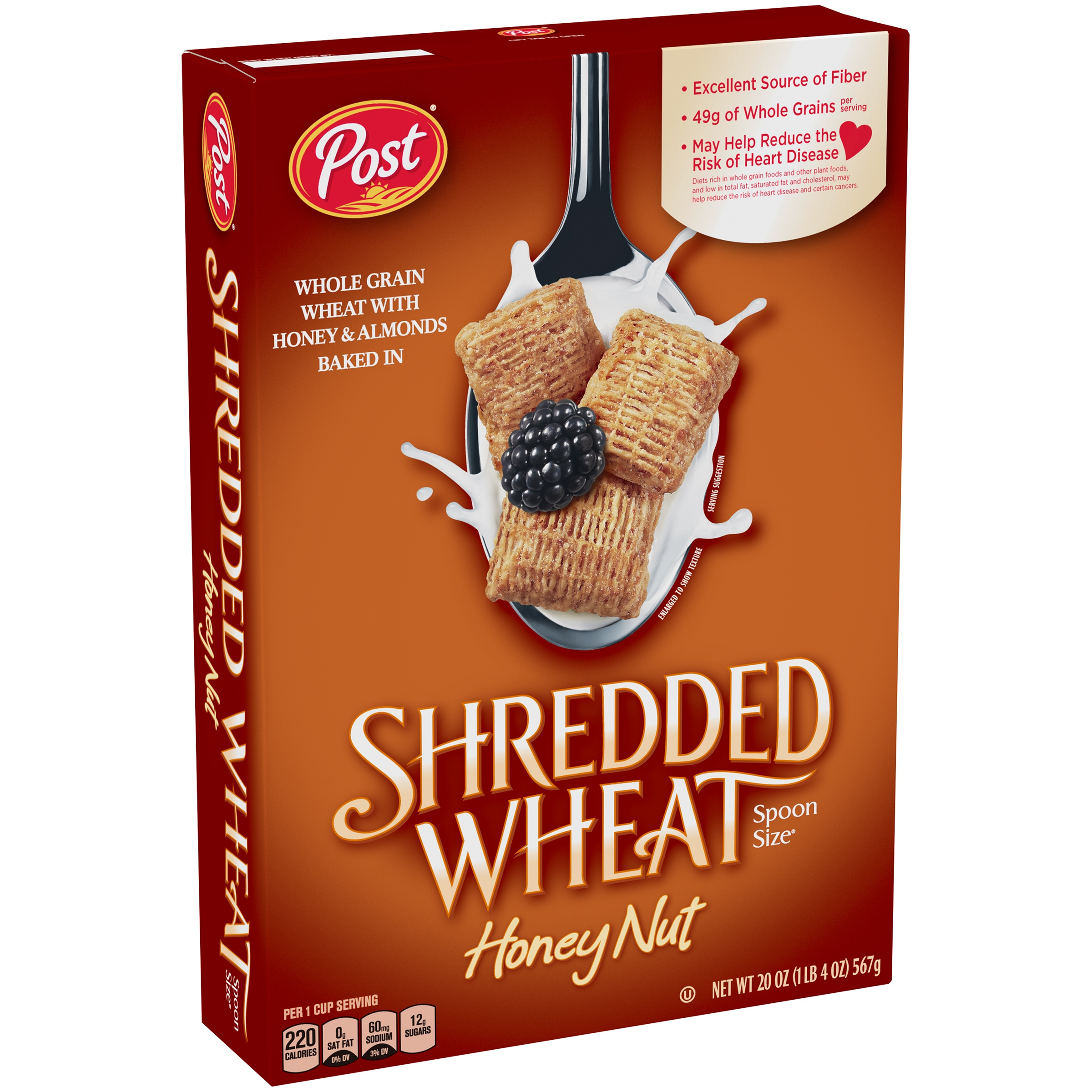 Post® Shredded Wheat Spoon Size® Honey Nut Cereal 20 oz. Box