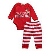 Lookwoild 2PCS My 1st Christmas Clothes Newborn Baby Boy Girl Romper Jumpsuit Pants Outfit