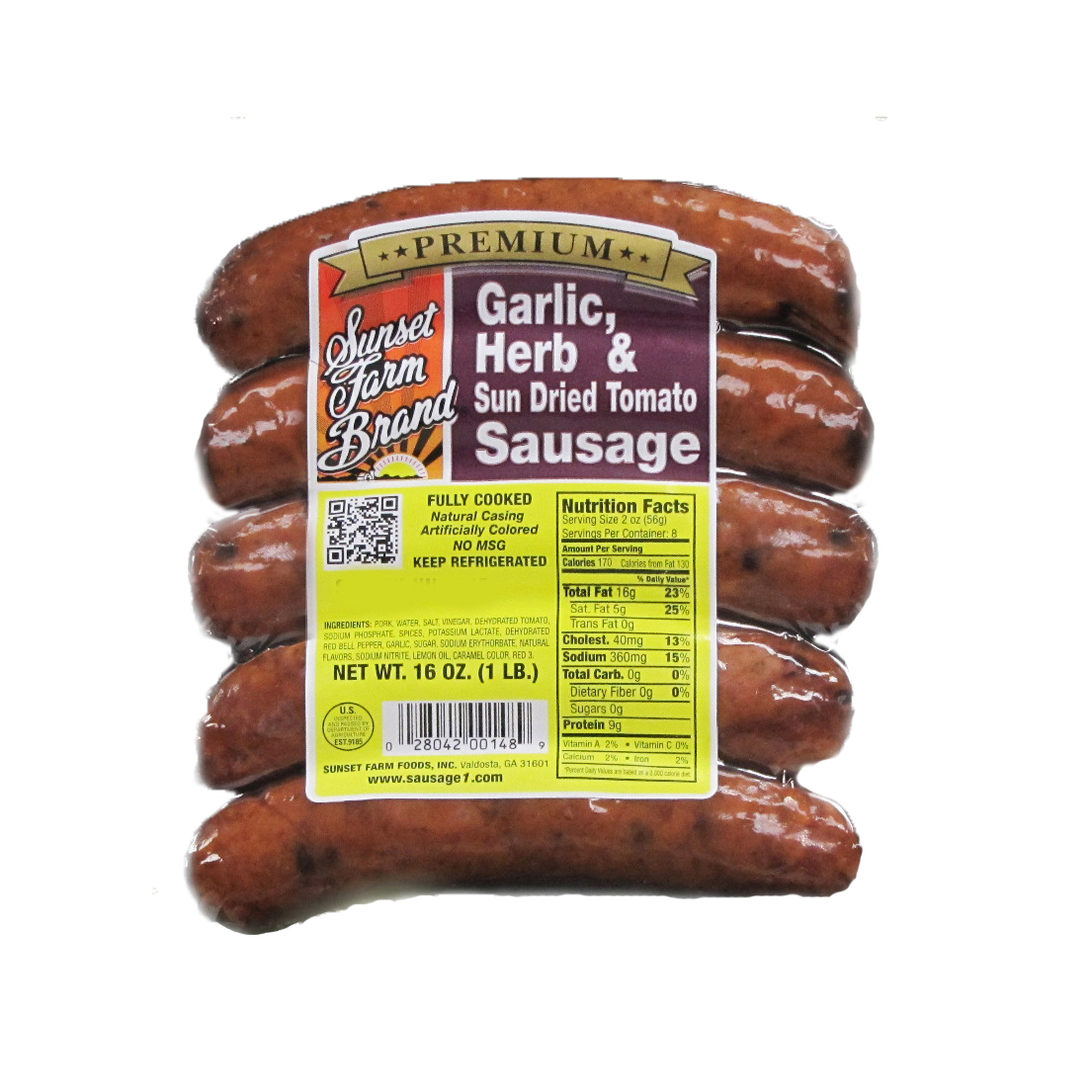 Sunset Farm Foods Garlic, Herb & Sun Dried Tomato Smoked Sausage, 16 Oz.