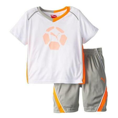 Puma Kids Soccer Team Perf Set - Jersey Shirt & Shorts - White & Blue