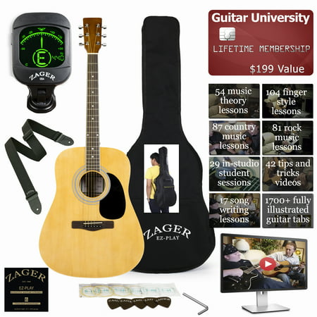 String Natural Finish Dreadnought Guitar (Easy Play No Sore Fingers Acoustic Guitar Package with Custom Easy Neck design, Low pressure bracing & Soft touch strings )