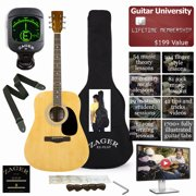 Easy Play No Sore Fingers Acoustic Guitar Package with Custom Easy Neck design, Low pressure bracing & Soft touch strings