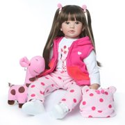 """Zimtown 24"""" Reborn Lifelike Baby doll Silicone Doll Toy Long Hair Pink Dress up Girl Christmas Birthday Gift"""