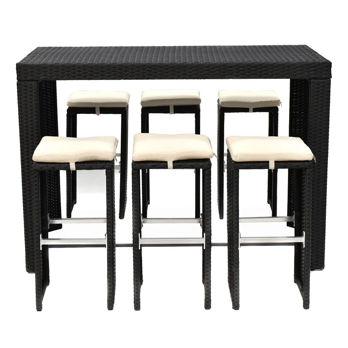 GHP Black Rattan Wicker Polyester Fabric Bar Table & 6-Pcs Bar Stools Dining Set