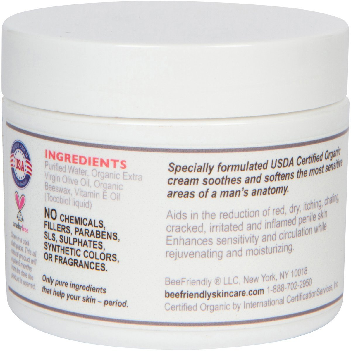 Organic Penile Health Cream By BeeFriendly, USDA Certified, 100% All ...
