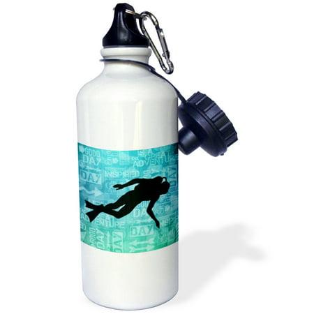 3dRose Scuba Diver Silhouette in Blue Bubbles with Adventure Word Art, Sports Water Bottle, -