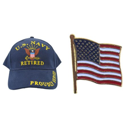 United States Navy Retired Blue Hat Cap USN & American Flag - Navy Hat Pins