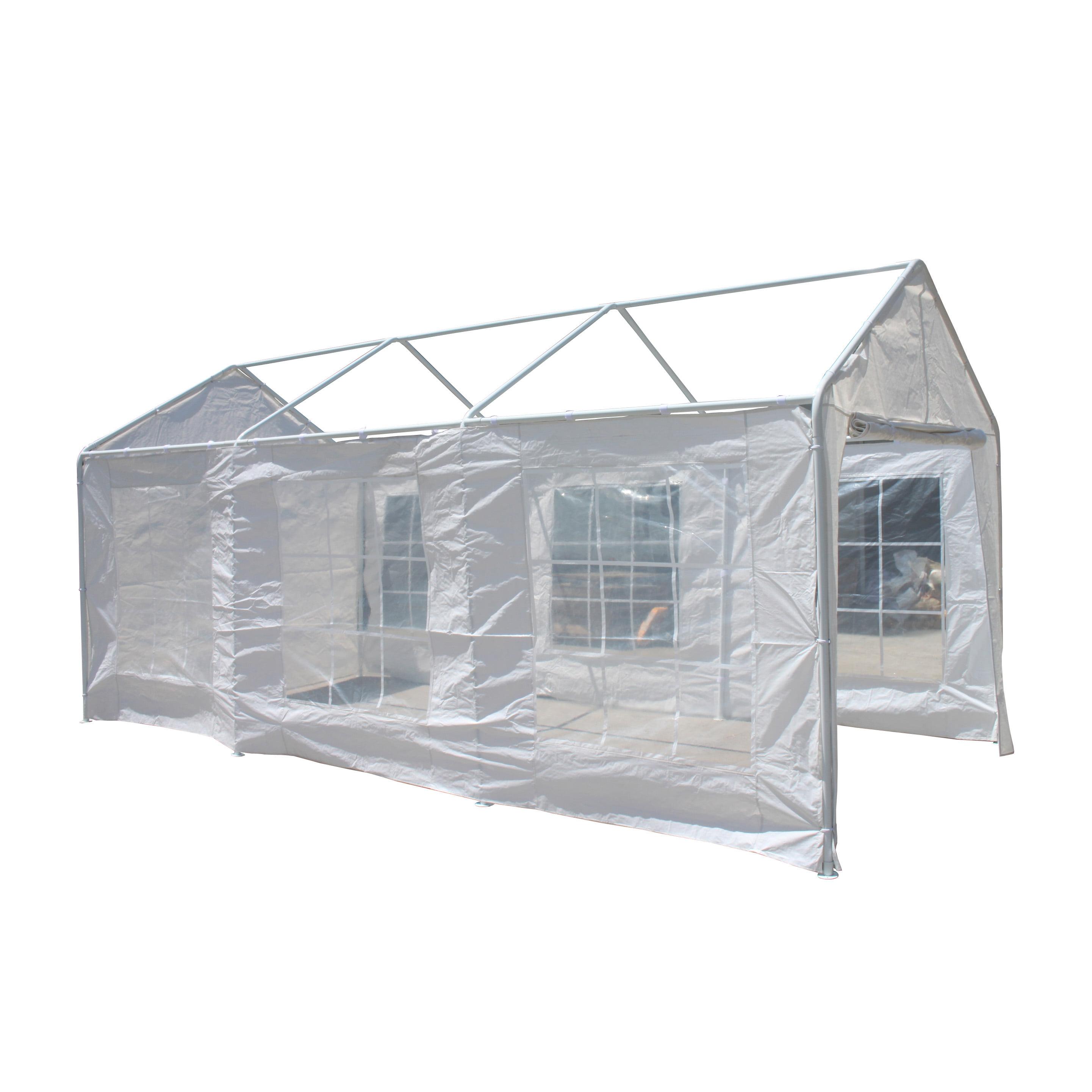 ALEKO 10' x 20' Polyethylene Caravan Carport Sidewalls with Windows, Heavy Duty, White Color