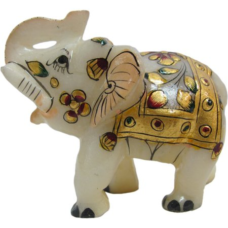 Vintage Marble and Gold Hand-Crafted Indian Decor Lucky Elephant Collectible Figurine