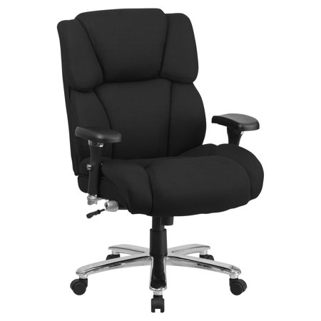 Flash Furniture Hercules Series 24 7 Intensive Use  Multi Shift  Big And Tall 400 Lb Capacity Black Fabric Executive Swivel Chair With Lumbar Support Knob