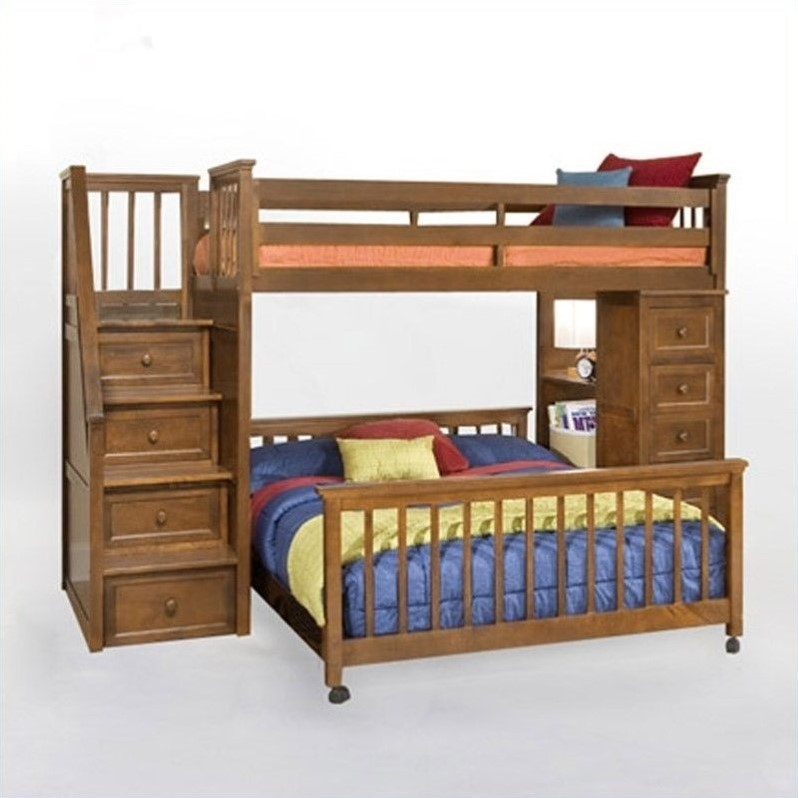 NE Kids School House Stair Loft Bed with Chest End in Pecan