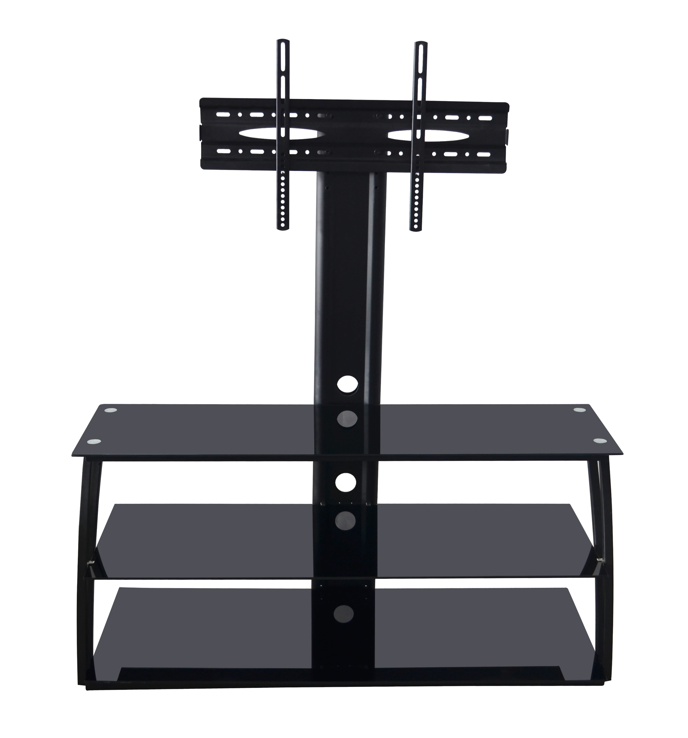 Image of ADBA TV Stand Entertainment Center with Mount holds upto 70 Inch Screens, VESA 100x100 to 600x400, Glass Shelving, 88 Lbs, Black Metal