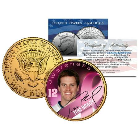 Breast Cancer Awareness TOM BRADY NFL JFK Half Dollar US 24K Gold Plated US
