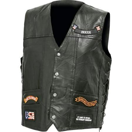 Diamond Plate Italian Stone Design Genuine Buffalo Leather Led Vest- M](Led Vests)