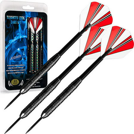 23 Gram Steel Tipped Darts – Tournament Competition Accessory Set with Nylon Shafts, Flights and Carry Case by Trademark