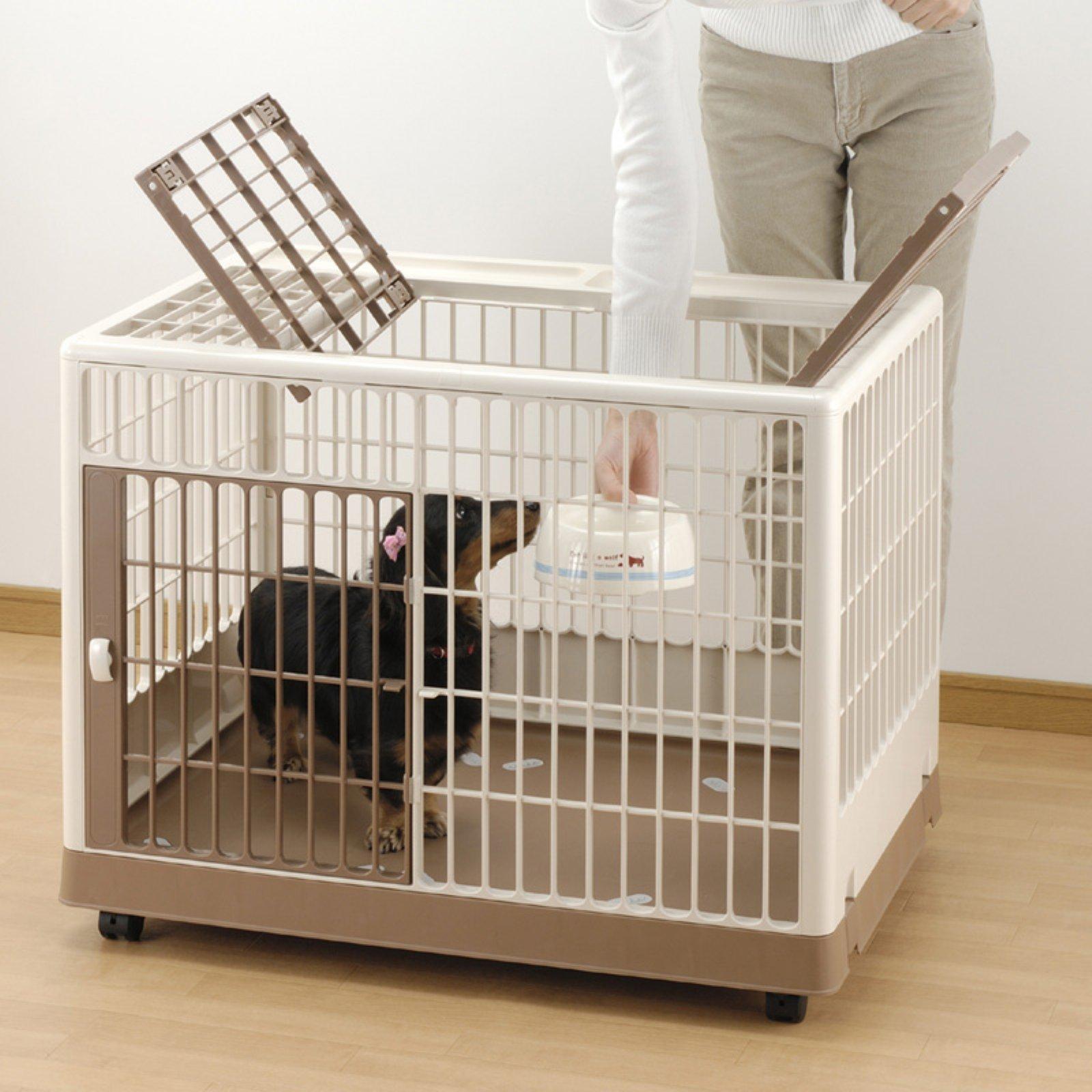 "Richell Pet Training Kennel PK-830, White/Mocha, 32.5"" x 21.7"" x 24.6"""
