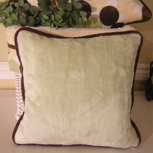 Brandee Danielle Minky Lemon Chocolate Polka Dot Green Decorative Pillow