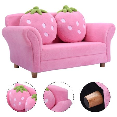 Costway Kids Sofa Strawberry Armrest Chair Lounge Couch w/2 Pillow Children  Toddler Pink - Costway Kids Sofa Strawberry Armrest Chair Lounge Couch W/2 Pillow
