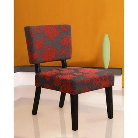 Remarkable Linon Kathleen Red Black Gray Print Accent Chair Inzonedesignstudio Interior Chair Design Inzonedesignstudiocom