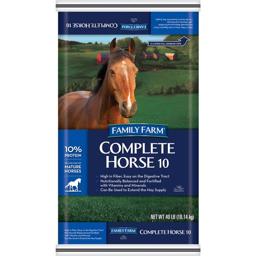 Family Farm 10% Pelleted Complete Horse 10 Animal Feed, 40 lb