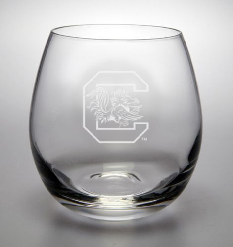 NCAA - South Carolina Gamecocks 11.5 oz Deep Etched Stemless White Wine Glass