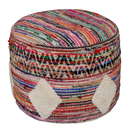 "LR Home Diamond Multicolor Hand Tufted Cotton & Polyester Modern Pouf Ottoman (18"" x 14"")"