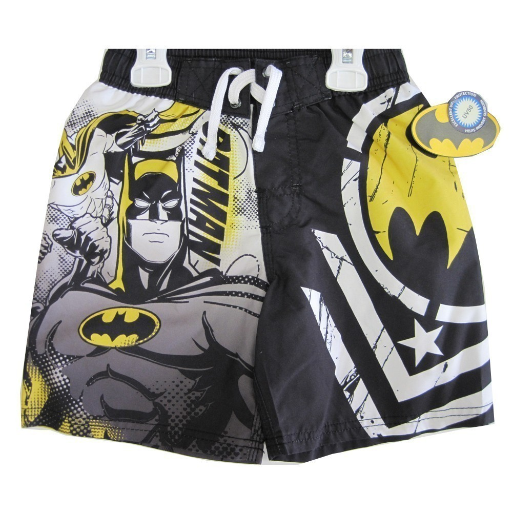 c01887c4a6 Batman - Boys Black White Cartoon Character Print Swim Wear Shorts 14 -  Walmart.com