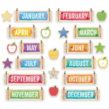 Upcycle Style Months of the Year (1173), Cute accents made to look like torn paper, tape, and rope, as well as seasonal accents (ex. Heart, shamrocks.., By Creative Teaching