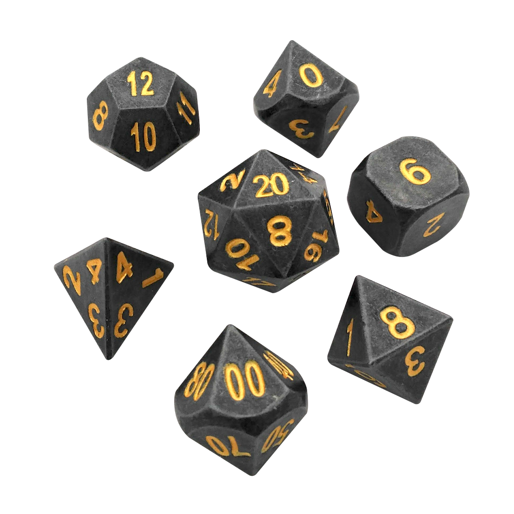 Gunmetal Color with Gold Numbering Metal Polyhedral Dice Set (7 Die in Pack) -