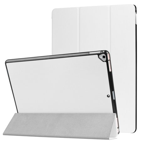 For iPad Pro 12.9 2017 Ultra Slim Tri-Fold Stand Case PU Leather Folio Tablet Protector Cover - White Leather Folio Case