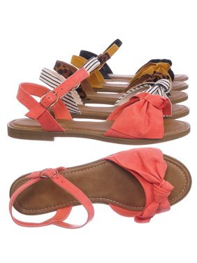 Hippie84 by Bamboo, Ankle Strap Flat Sandal - Women Bow Ornamentation w Adjustable Strap