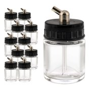10 Pack Master Airbrush TB-003, 3/4 oz Glass Jar Bottles with 60° Down Angle Adaptor Lid Assembly, Single-Action Siphon
