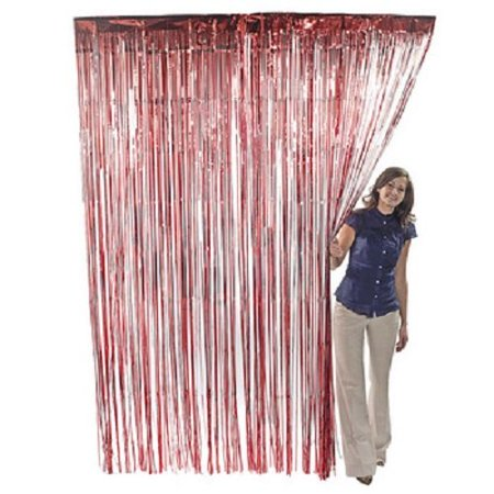 Fun Express 1 X Red Metallic Fringe Curtain - Novelties Inc