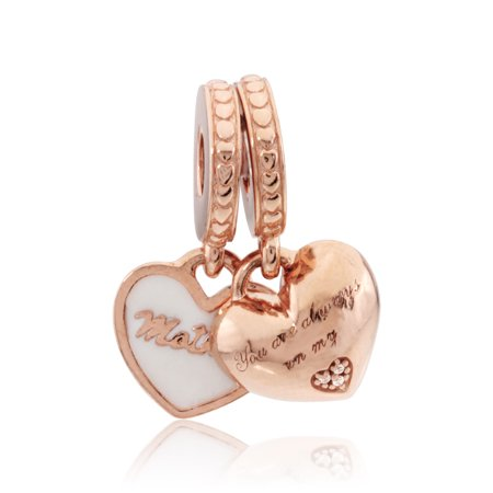 Silver Enamel & Clear Cz Mother & Daughter Hearts Charm