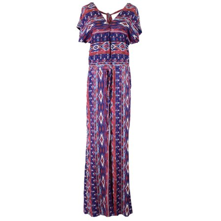 Ethnic Inspired Clothing (Fashionable Ethnic Inspired Print Tie Waistline Long Pants Jumpsuit)
