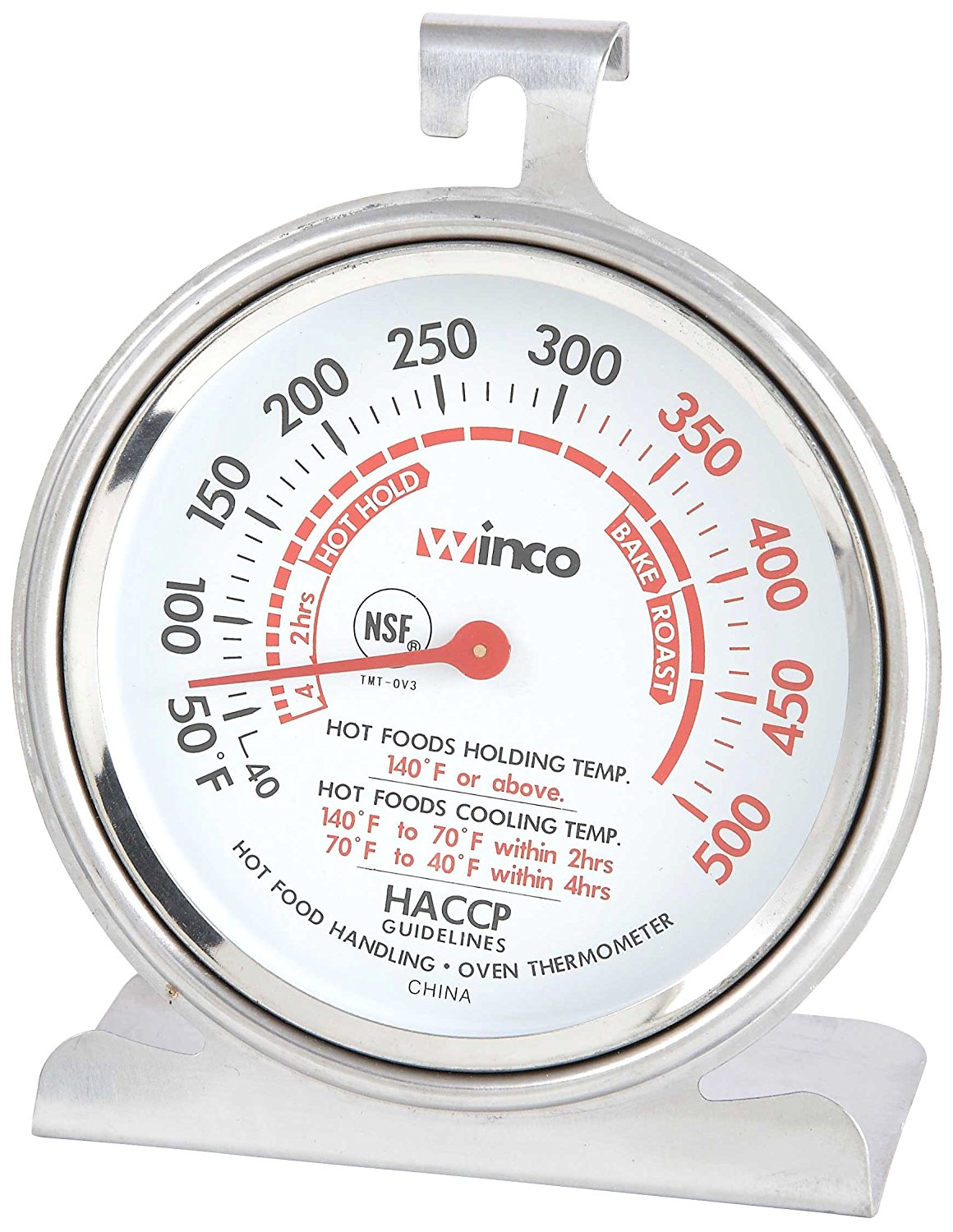 3-Inch Dial Oven Thermometer with Hook and Panel Base, Oven thermometer By Winco by
