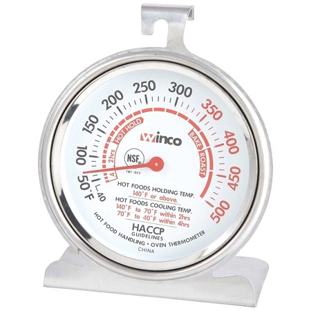 3-Inch Dial Oven Thermometer with Hook and Panel Base, Oven thermometer By Winco