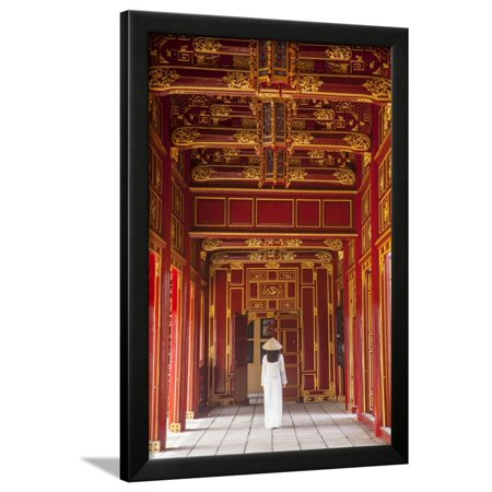- Woman Wearing Ao Dai Dress in Imperial Palace Inside Citadel, Hue, Thua Thien-Hue, Vietnam (Mr) Framed Print Wall Art By Ian Trower