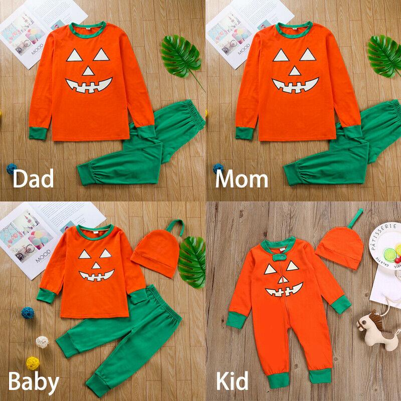 Family Matching Halloween Pajamas Set Adult Women Kids Sleepwear Nightwear