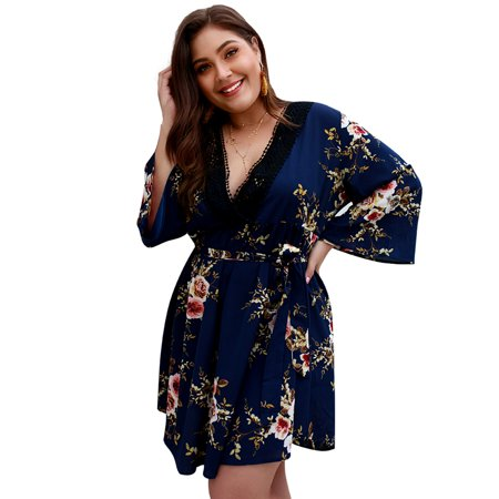 Womens Plus Size Dresses - Summer Dress Casual Lace Up V-neck Long Sleeve  Vintage Floral Party Dress