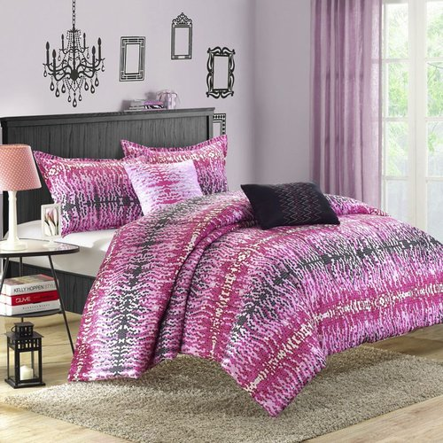 Chic Home Waves 4 Piece Reversible Comforter Set Twin Size Comforter Set