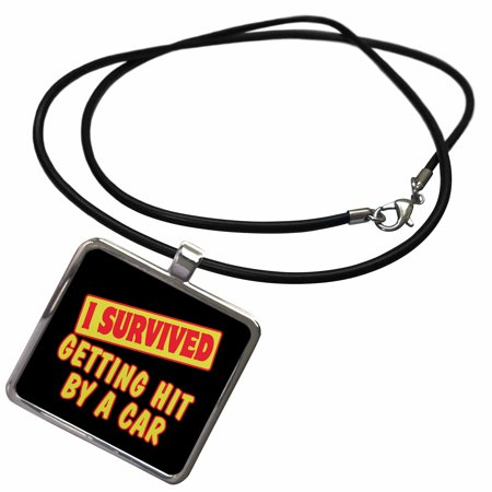 3dRose I Survived Getting Hit By A Car Survial Pride And Humor Design - Necklace with Pendant (ncl_117952_1) - Lesbian Pride Necklace