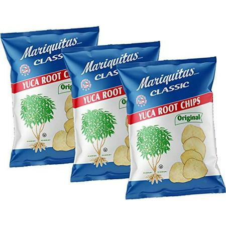 Cassava Chips. Mariquitas De Yuca. 100% Natural . 4 oz each. Pack of 3.