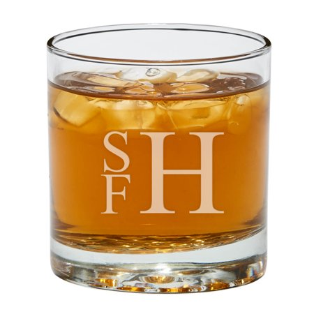 Set of 2 Stacked Monogram Personalized Bar (Personalized Drinking Glass)